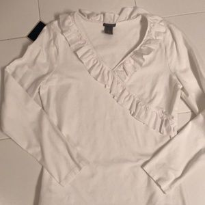 Ruffled front Ann Taylor knit top